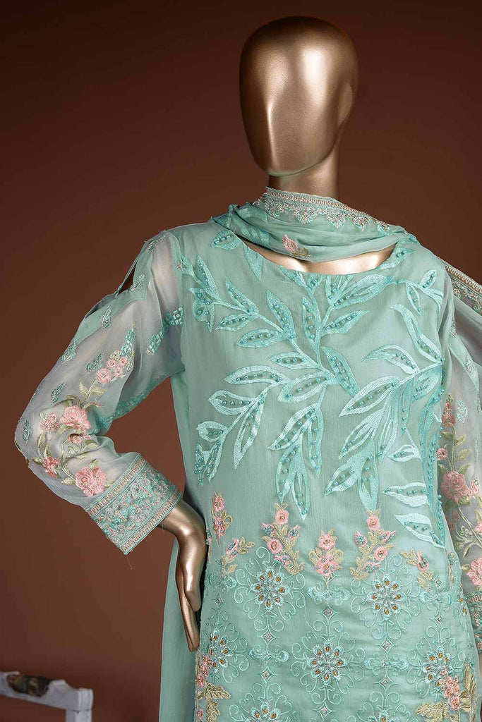 Faraway Horizon (G7-4A) Embroidered Sea-green Chiffon Dress with Embroidered Chiffon Dupatta