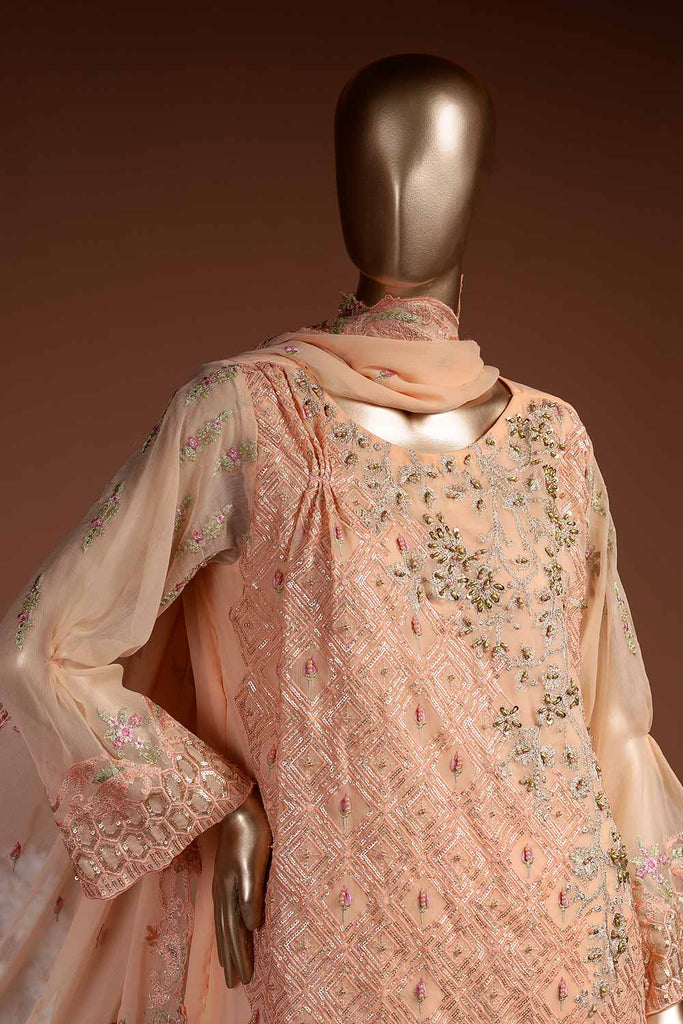 Sparkling Stone (G7-5B) Embroidered Peach Chiffon Dress with Embroidered Chiffon Dupatta