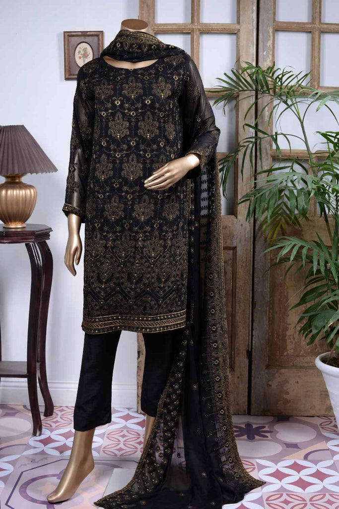 Flowing Grace (GF-4B) | Embroidered Un-stitched Chiffon Dress with Embroidered Chiffon Dupatta