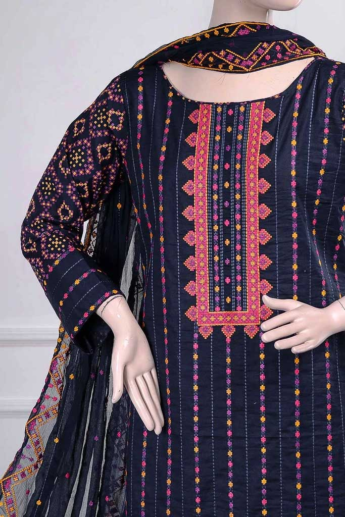 Tradition (SC-20B-Blue) Embroidered Un-Stitched Cambric Dress with Embroidered Chiffon Dupatta