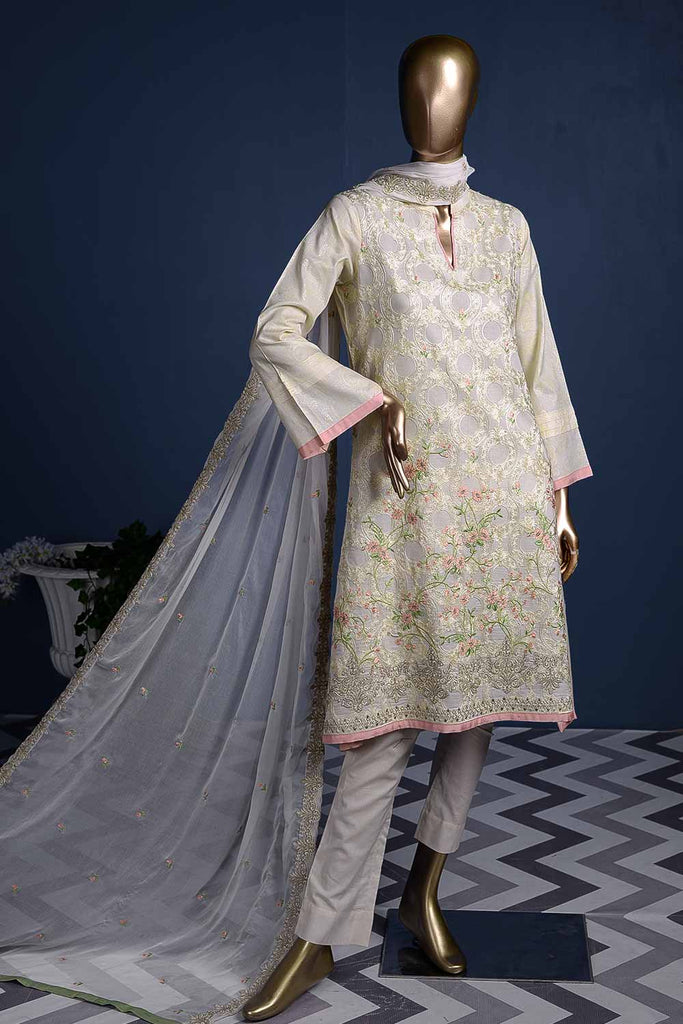 Arri Jaal (SC-24SB-Cream) Stitched Embroidered Cambric Dress With Embroidered Chiffon Dupatta
