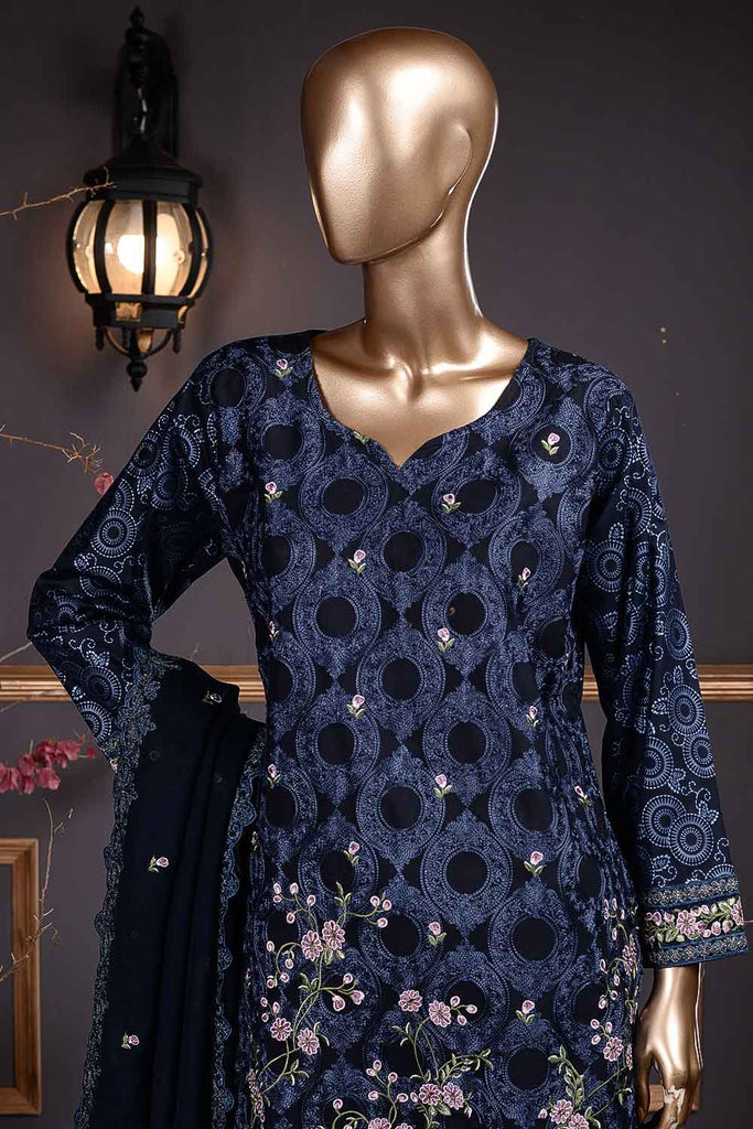Arri Jaal (SC-24C-Blue) Embroidered Un-Stitched Cambric Dress With Embroidered Chiffon Dupatta