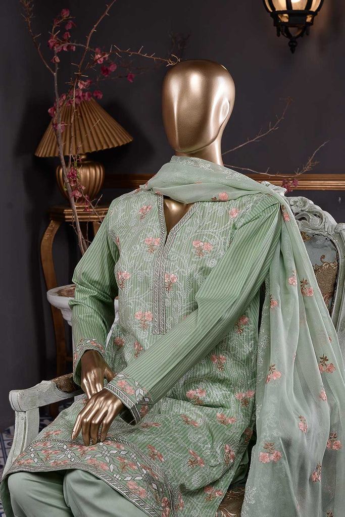Ice Beauty (SC-26D-Light Green) Embroidered Un-Stitched Cambric Dress With Embroidered Chiffon Dupatta