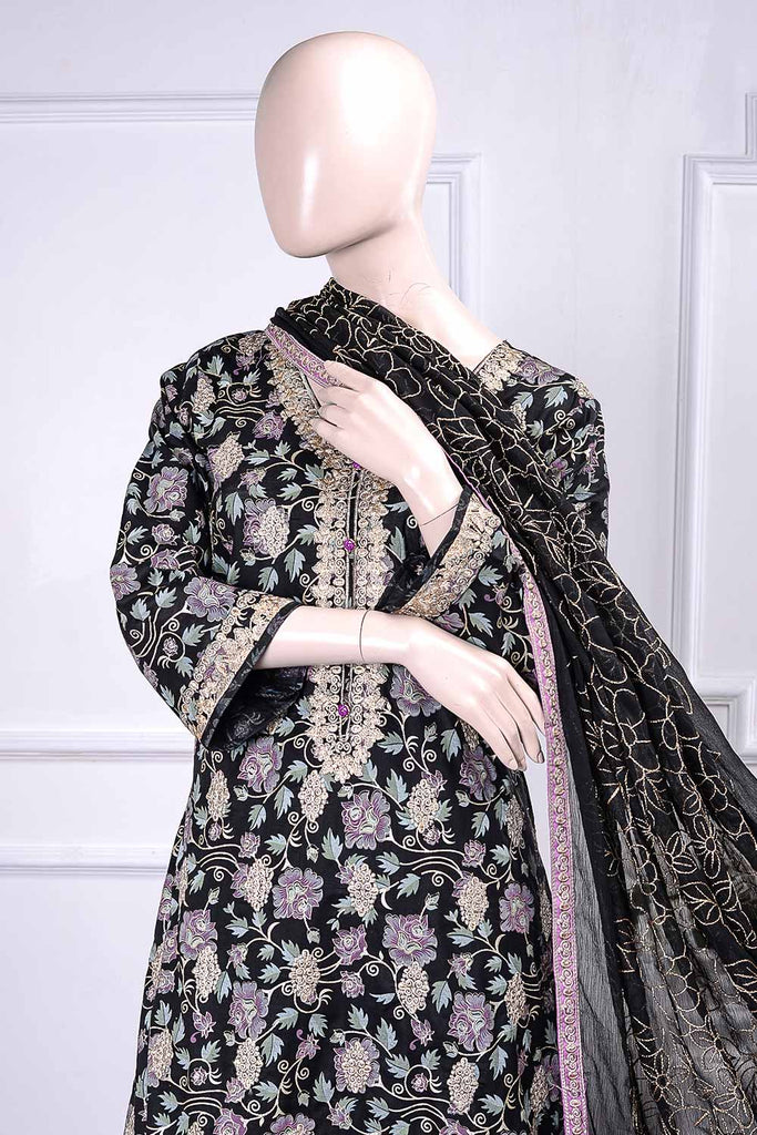 Sona Chandi (SC-2E-Black) 3 Pcs Embroidered Un-Stitched Cambric Dress With Chiffon Dupatta