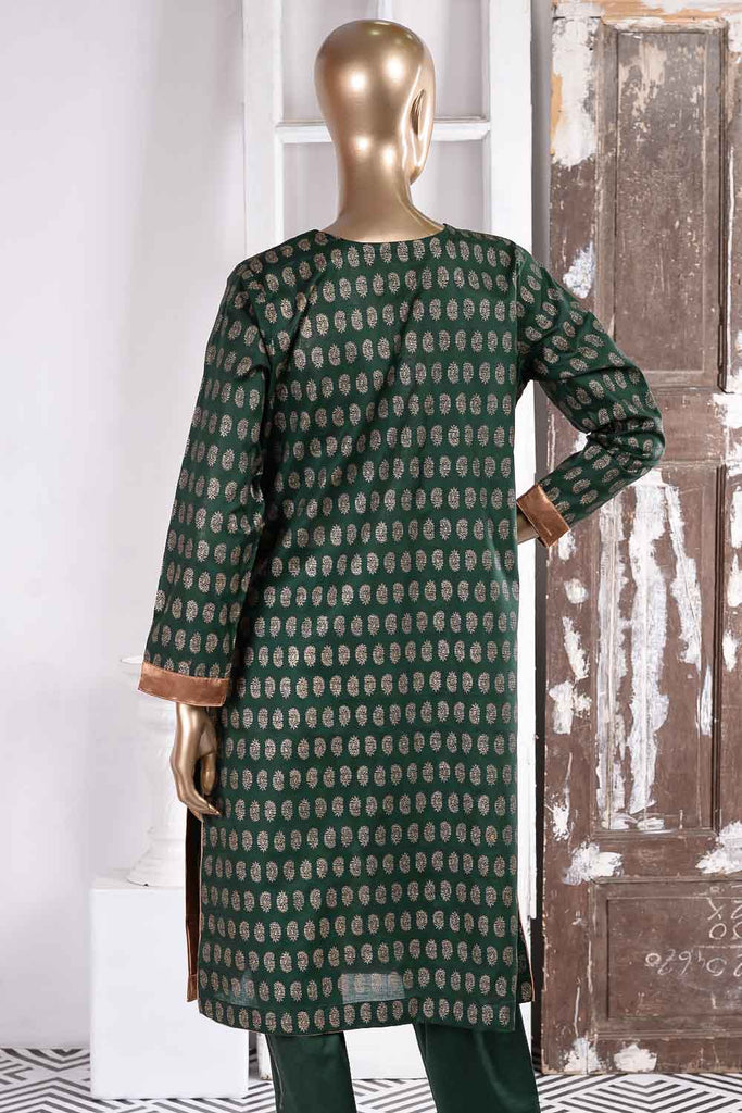Earthly Tones (SC-31A-Green) Embroidered Un-Stitched Cambric Dress With Embroidered Chiffon Dupatta