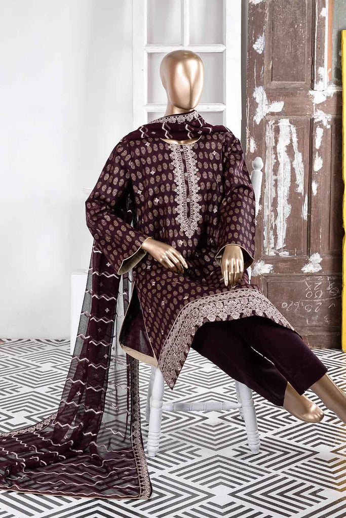 Earthly Tones (SC-31B-Maroon) Embroidered Un-Stitched Cambric Dress With Embroidered Chiffon Dupatta