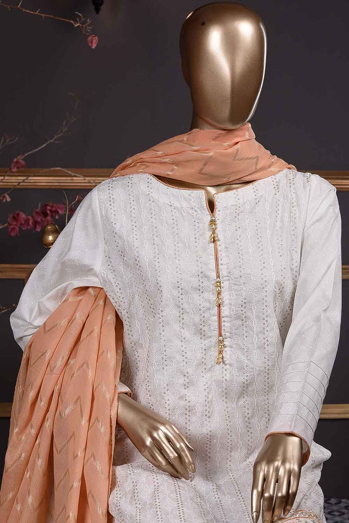 Sequins Daaman (SC-69B-White) Embroidered Cambric Dress with Jacquard Dupatta