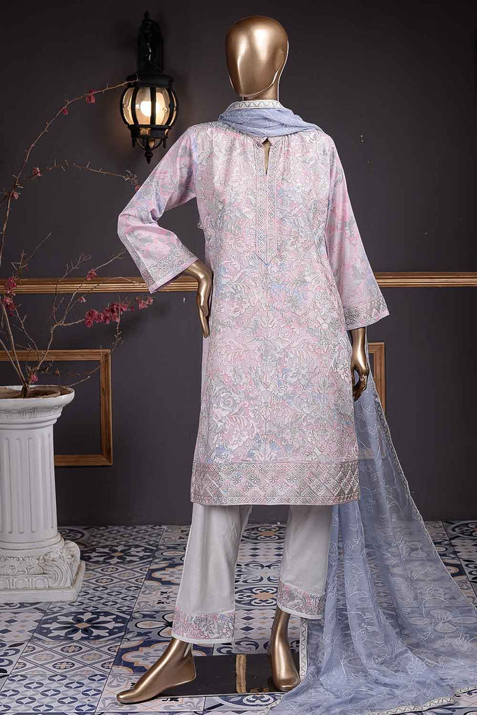 Dragon Fly (SC-70B-White&Pink) Embroidered Cambric Dress with Embroidered Chiffon Dupatta