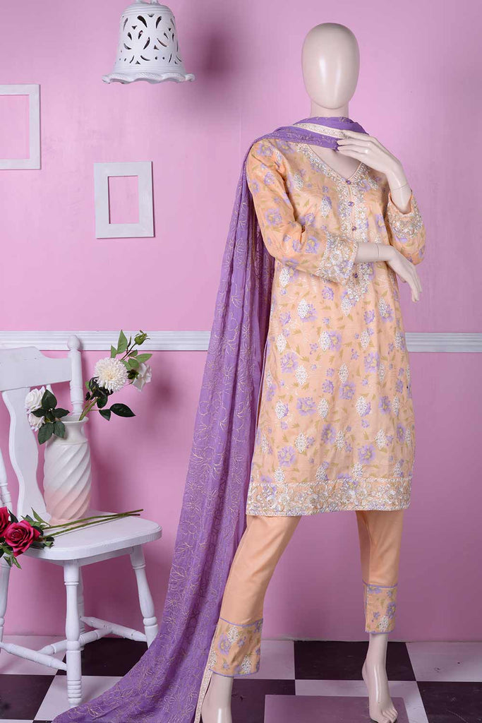 Sona Chandi (SC-2C-Orange) | Embroidered Un-stitched Cambric Dress with Chiffon Dupatta