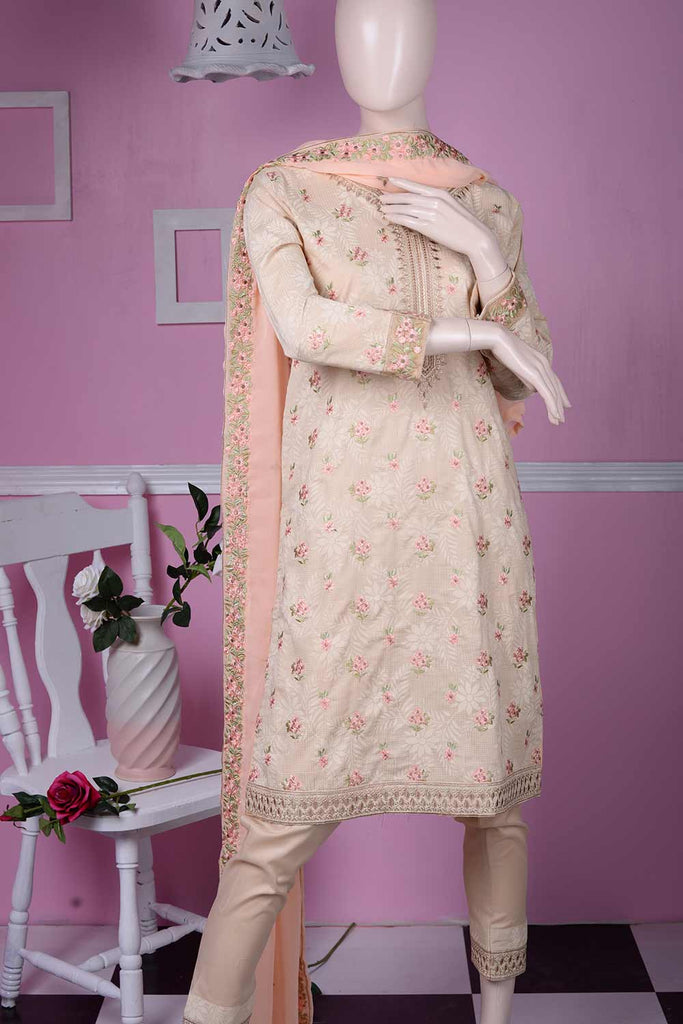 Sparkle (SC-5A-Skin) | Embroidered Un-stitched Cambric Dress with Chiffon Dupatta