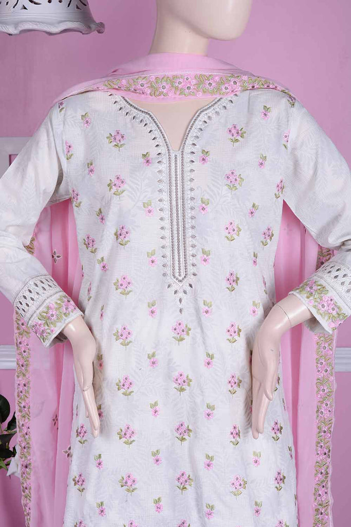 Sparkle (SC-5B-White) | Embroidered Un-stitched Cambric Dress with Chiffon Dupatta