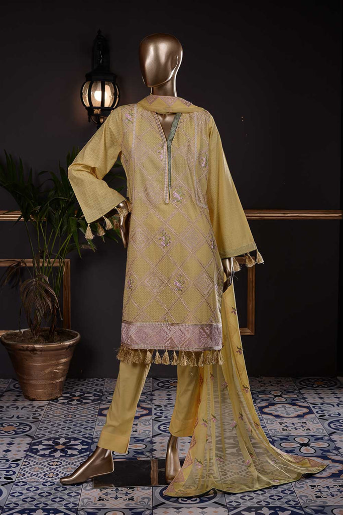 Washer Rumbus (SC-42B-Yellow) Embroidered Cambric Dress with Embroidered Chiffon Dupatta