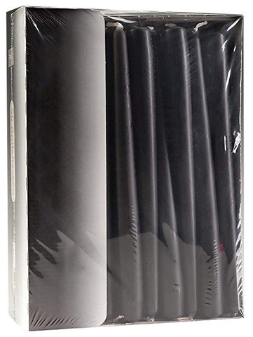 10 Inch Black Tapered Dinner Candles (100 Candles)