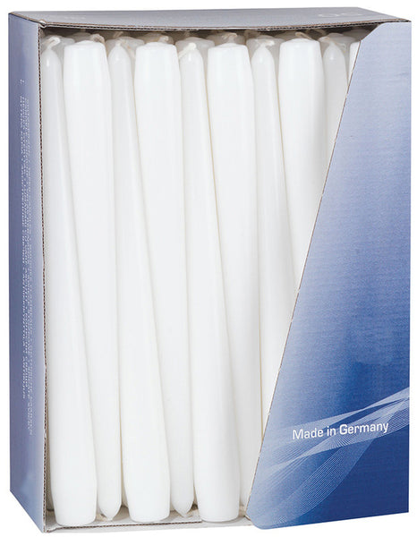 10 Inch White Tapered Dinner Candles (200 Pack)