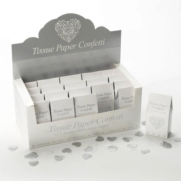 Tissue Paper Confetti - White & Silver (20 Packs)