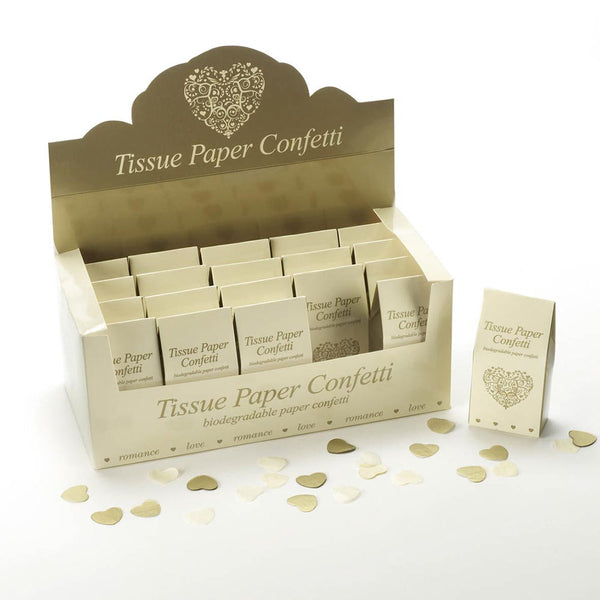 Tissue Paper Confetti - Ivory & Gold (20 Packs)