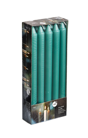 9.5 Inch Emerald Green Straight Candles (6 Packs of 10)