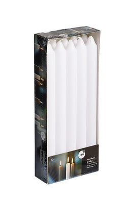 9.5 Inch White Straight Candles (60 Candles)