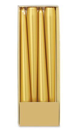 10 Inch Gold Tapered Candles (12 Candles) Only 1 Pack left!