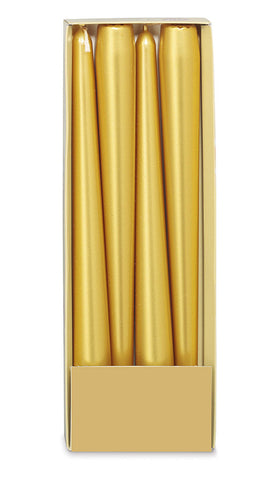 10 Inch Gold Tapered Candles (12 Candles)