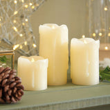 Battery Flickering LED Pillar Candles (Set of 3)