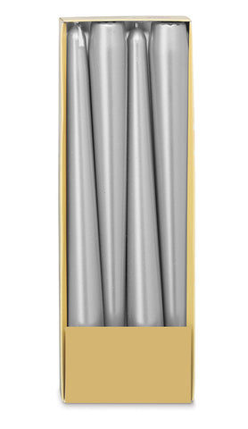 10 Inch Silver Tapered Candles (12 Candles)