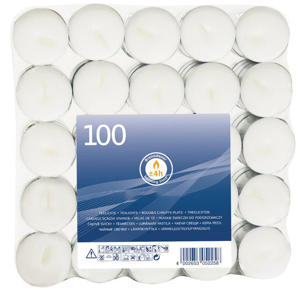 4 Hour Burn Tea Lights 100 Pack (Box of 800)