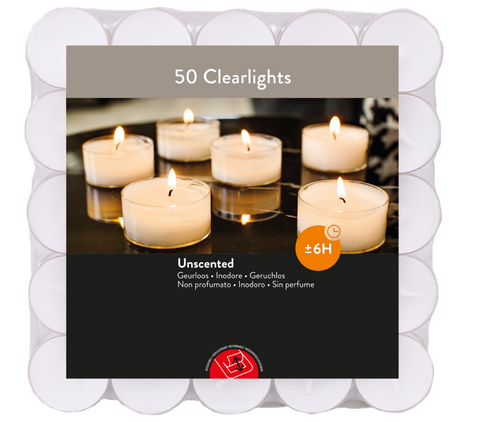 6 Hour Burn Clear Cup Tea Lights (Box of 600)