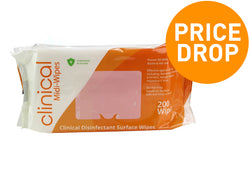 Jumbo Pack Clinical Disinfectant Virucidal Surface Wipes Pack of 200 - Kills 99.9% of Bacteria