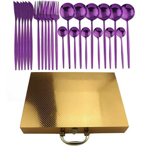 Golden Royal Cutlery Set with Suitcase Gift Box