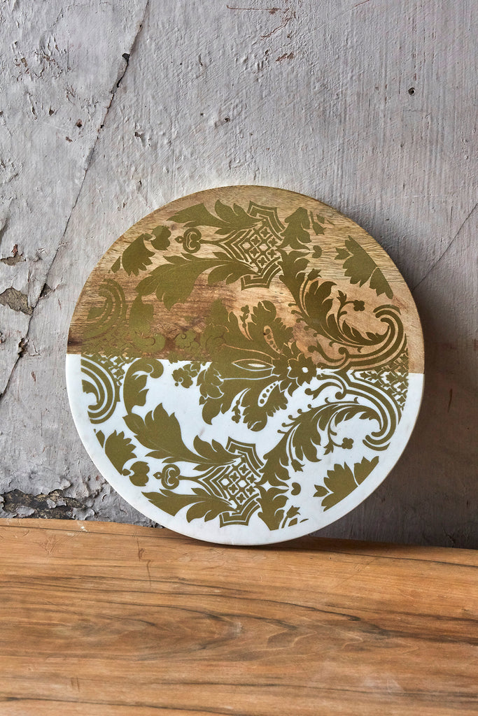 Patina Vie Damask Marble + Wood Serving Board