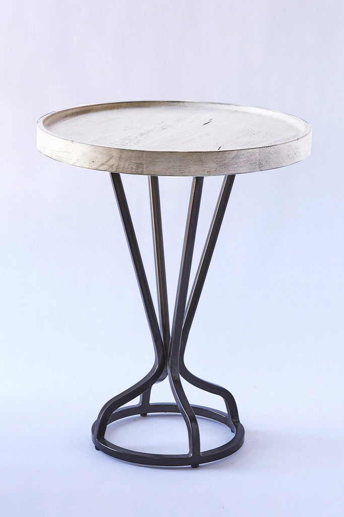Patina Vie Whitewash Vintage Industrial End Table
