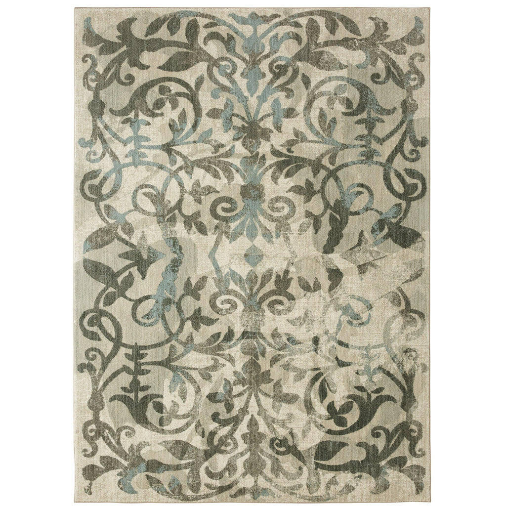 Damask Cascade Willow Grey Rug - Serenade Collection
