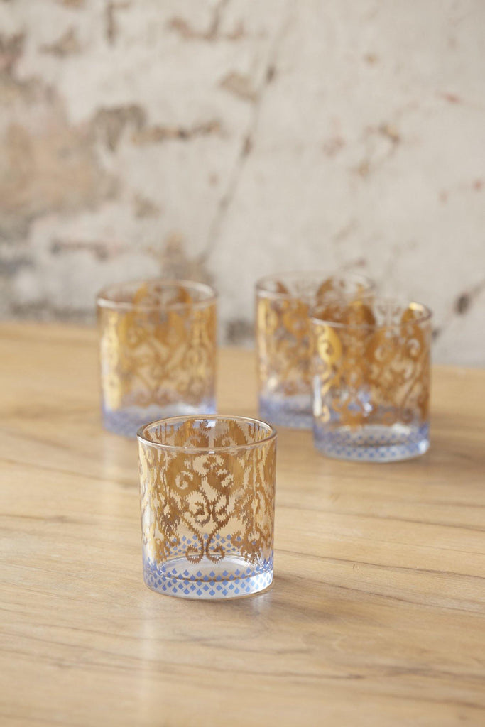 Patina Vie Golden Ikat Cocktail Glass, S/4