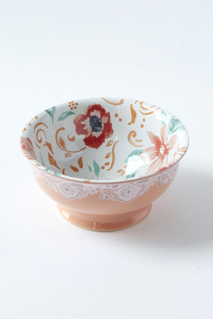 Patina Vie Pink Blooms Ceramic Bowl - Patina Vie