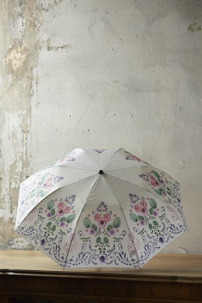 Patina Vie Purple and Green Floral Umbrella