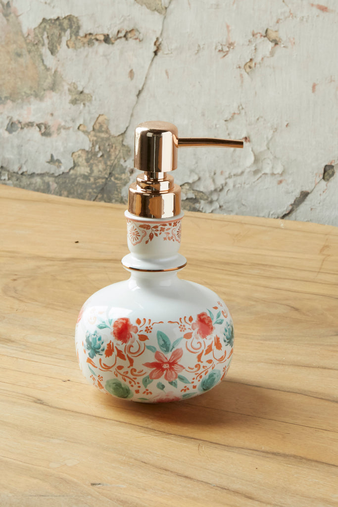 Patina Vie Pink Blooms Liquid Soap Dispenser