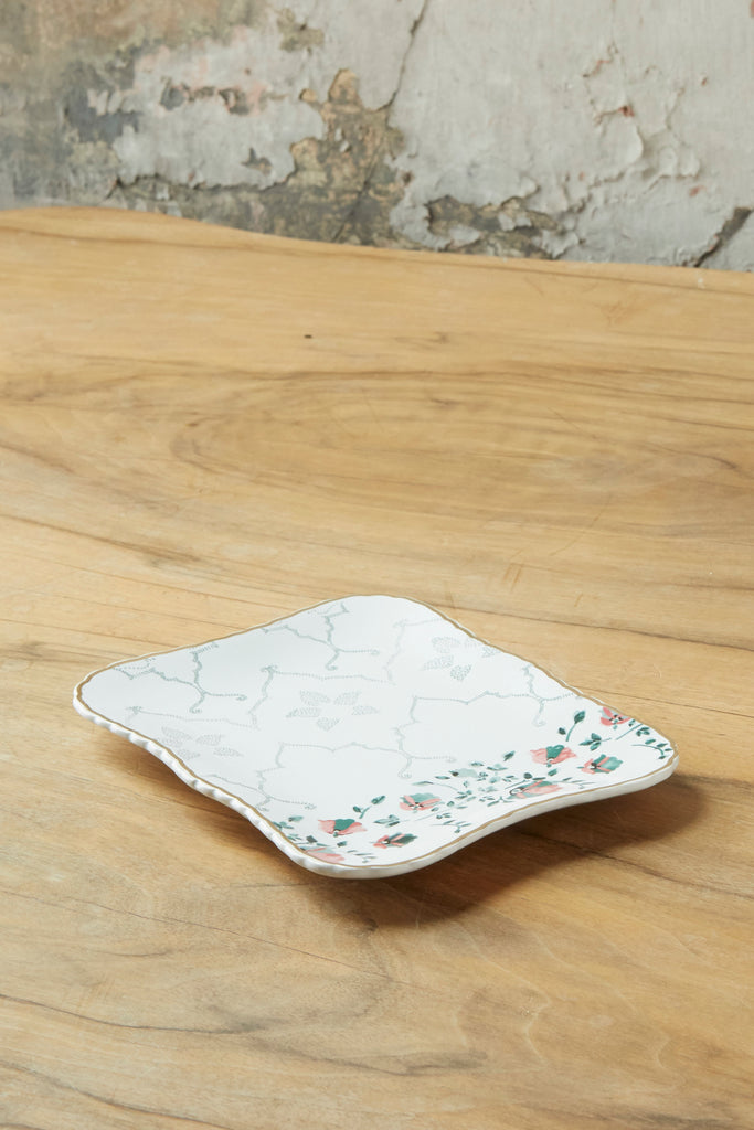 Patina Vie Rectangular Floral Ceramic Trinket Tray