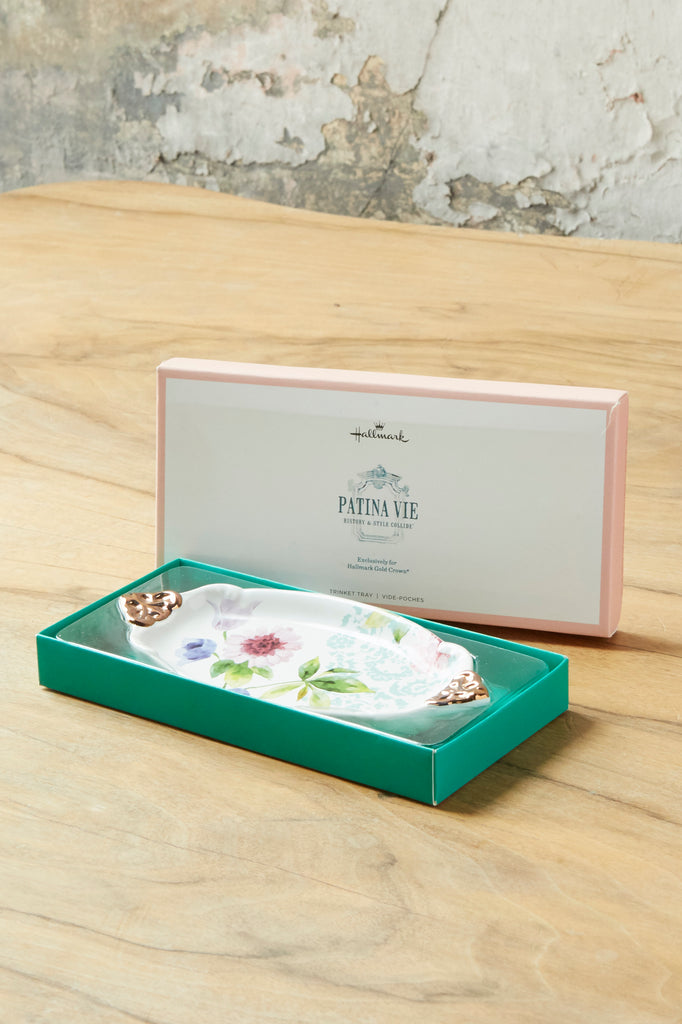 Patina Vie Lace and Floral Oval Trinket Tray