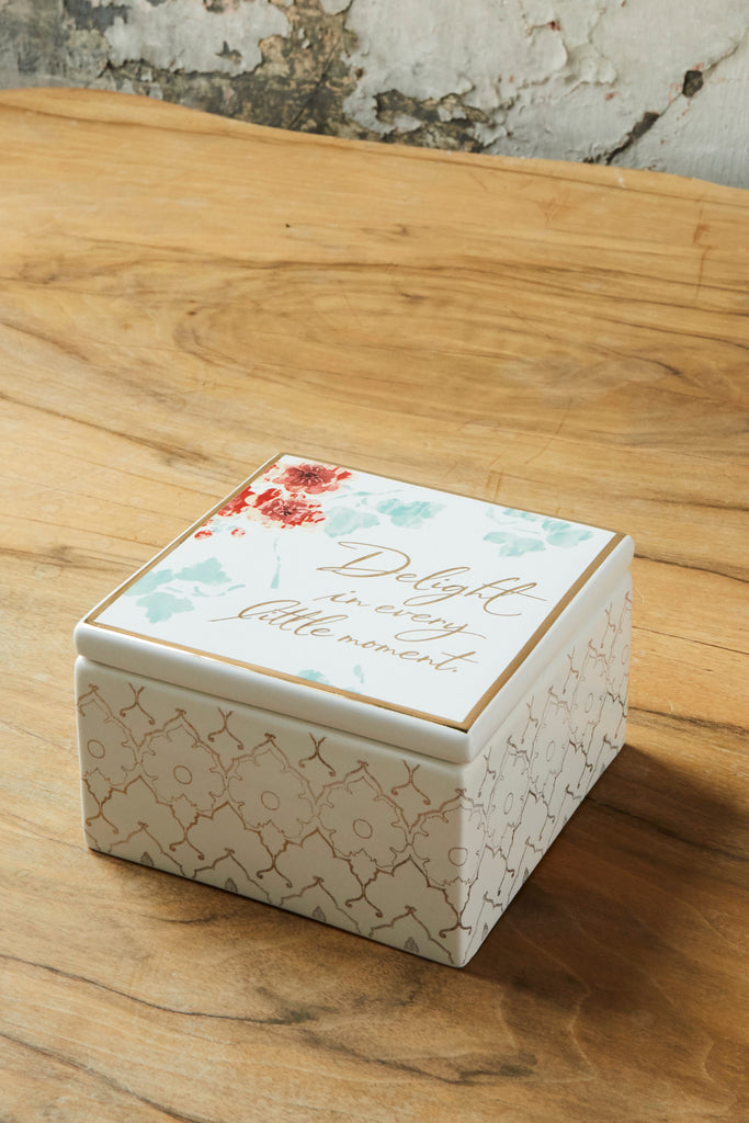 Patina Vie Delight in Every Moment Square Lidded Ceramic Box
