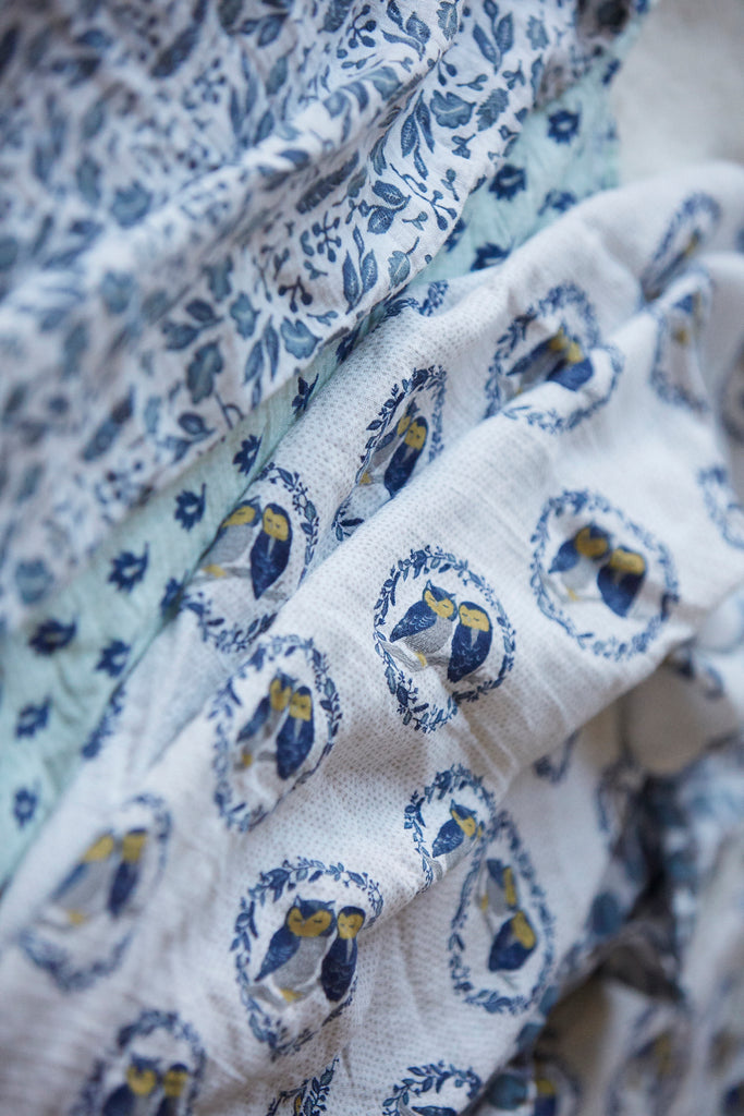 Patina Vie Sleepy Owls Muslin Baby Swaddles S/4