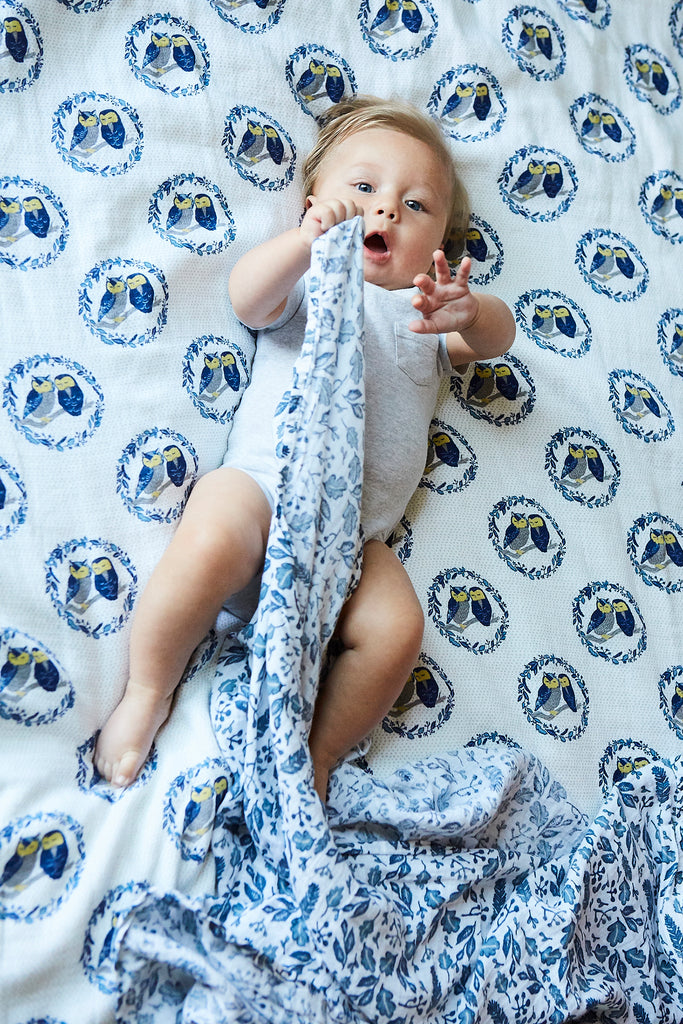 Patina Vie Sleepy Owls Muslin Baby Blanket