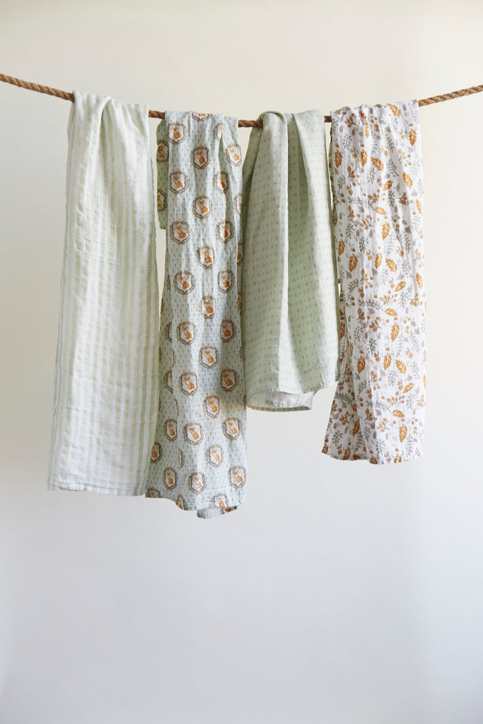 Patina Vie Nature Fox Muslin Baby Swaddles S/4