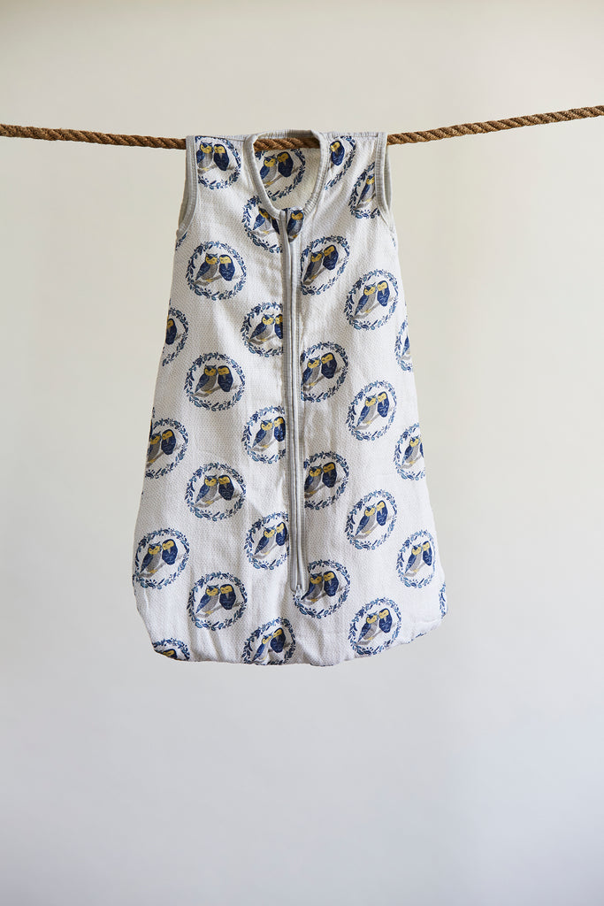 Patina Vie Sleepy Owls Muslin Baby Sleep Sack