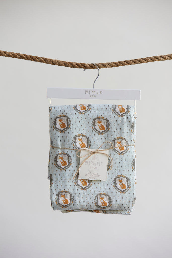 Patina Vie Cuddle Fox Muslin Baby Blanket