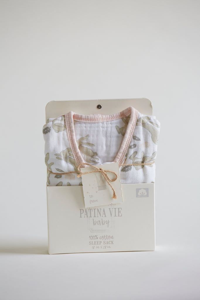 Patina Vie Vintage Bunnies Muslin Baby Sleep Sack