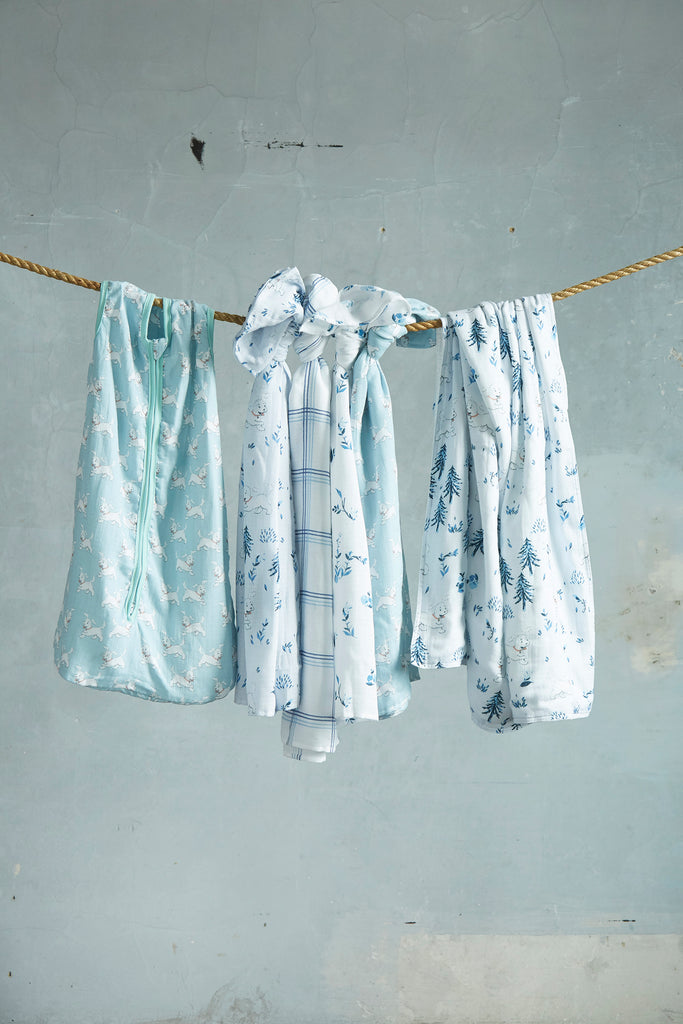 Patina Vie Frolicking Puppy Muslin Baby Swaddles S/4