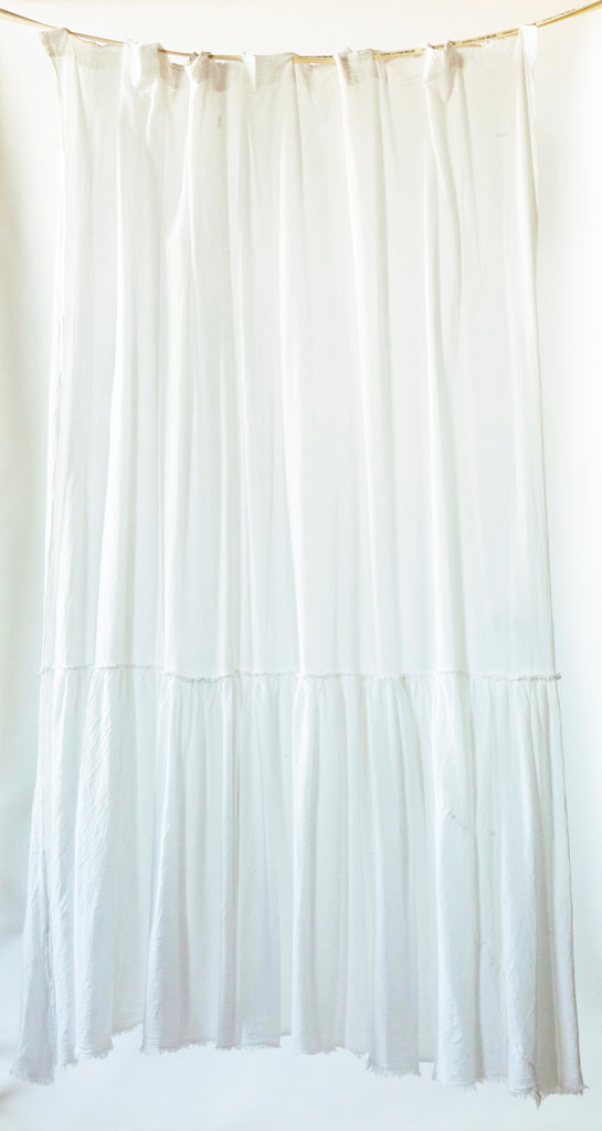 Patina Vie White Vintage Washed Frayed Edge Shower Curtain