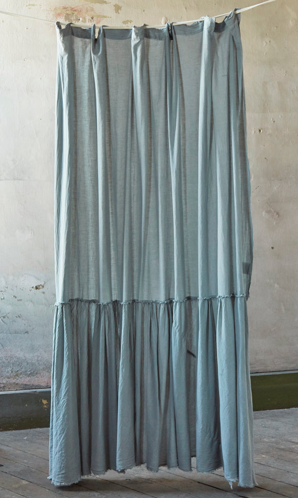 Patina Vie Grey Vintage Washed Frayed Edge Shower Curtain
