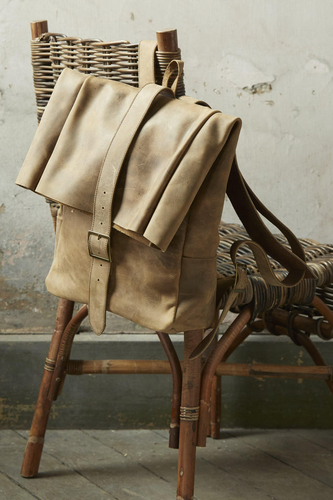 Foldable Leather Backpack - Patina Vie